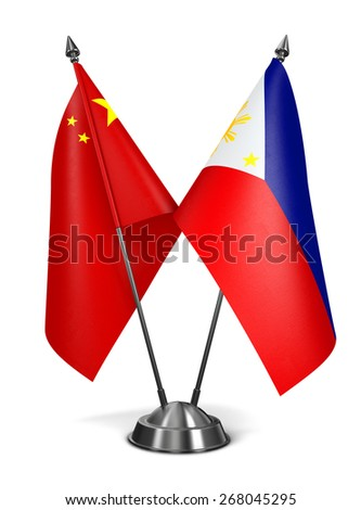China and Philippines - Miniature Flags Isolated on White Background. - stock photo