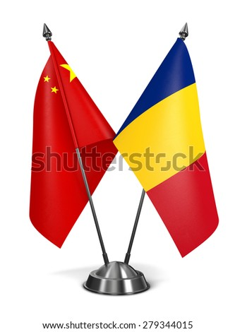 China and Romania - Miniature Flags Isolated on White Background. - stock photo