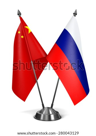 China and Russia - Miniature Flags Isolated on White Background. - stock photo