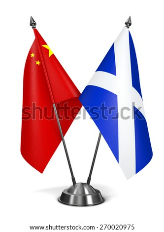 China and Scotland - Miniature Flags Isolated on White Background. - stock photo