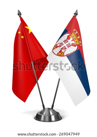 China and Serbia - Miniature Flags Isolated on White Background. - stock photo