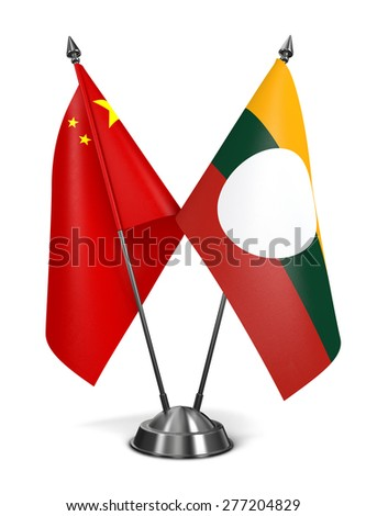 China and Shan State - Miniature Flags Isolated on White Background. - stock photo