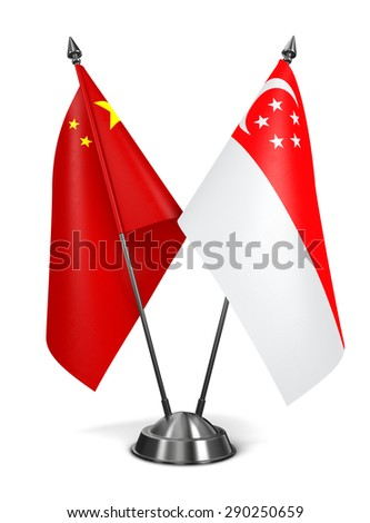 China and Singapore - Miniature Flags Isolated on White Background. - stock photo