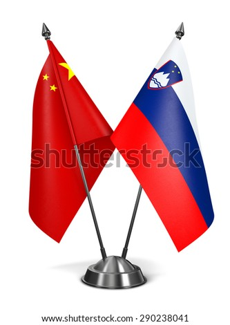 China and Slovenia - Miniature Flags Isolated on White Background. - stock photo
