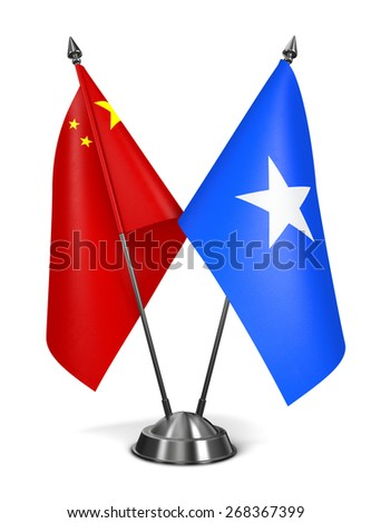China and Somalia - Miniature Flags Isolated on White Background.