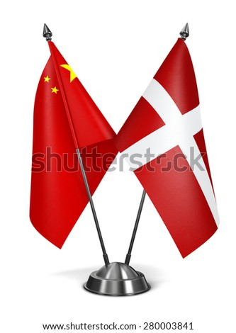 China and Sovereign Military Order Malta - Miniature Flags Isolated on White Background. - stock photo