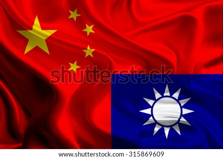 China and Taiwan Flags joining together concept - stock photo