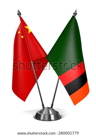 China and Zambia - Miniature Flags Isolated on White Background. - stock photo