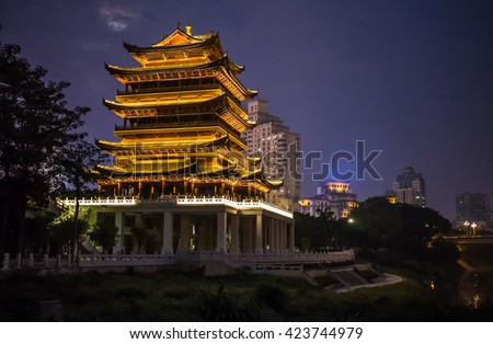China Beijing ancient architecture pavilions at  night.  - stock photo