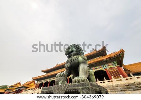 China Beijing Forbidden City bronze lion - stock photo
