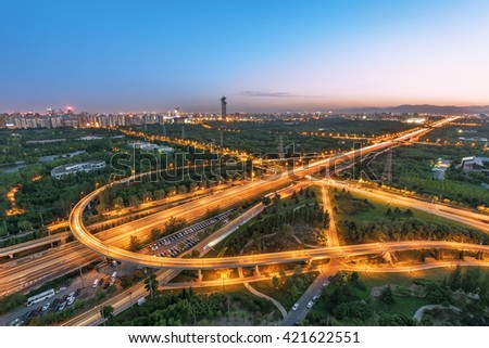 China Beijing overpass after sunset night - stock photo