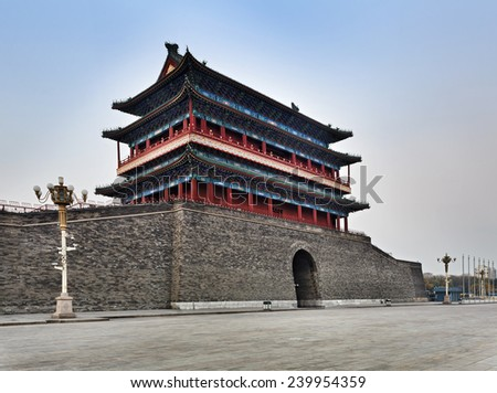 china beijing tiananmen square south Zhengyangmen Gate of ancient imperial palace and fortification side view with nobody at sunrise - stock photo