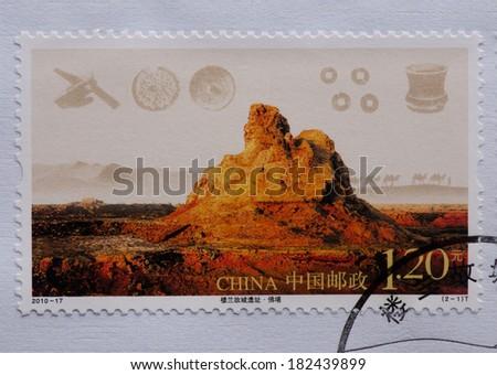 CHINA - CIRCA 2010:A stamp printed in China shows image of CHINA stamps 2010-17 Ruins of the Ancient Loulan,circa 2010 - stock photo
