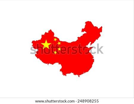 china country flag map shape national symbol - stock photo