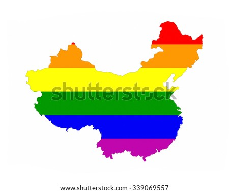 China Country Gay Pride Flag Map Stock Illustration 339069557