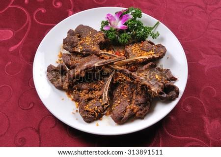 China delicious food  Roasted lamb chops - stock photo