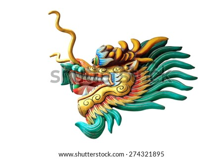 china dragon head statue in a shine isolated on white background