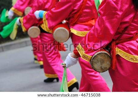 china Drum dance - stock photo