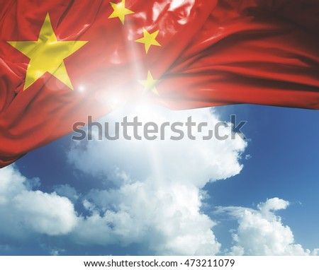 China flag on a beautiful day