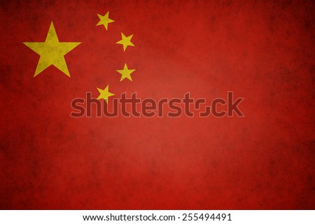 China flag on concrete textured background - stock photo