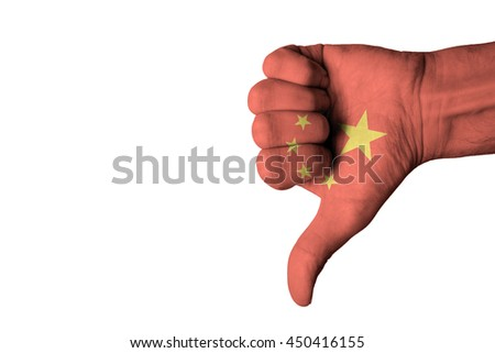 China flag on human male thumb down hand