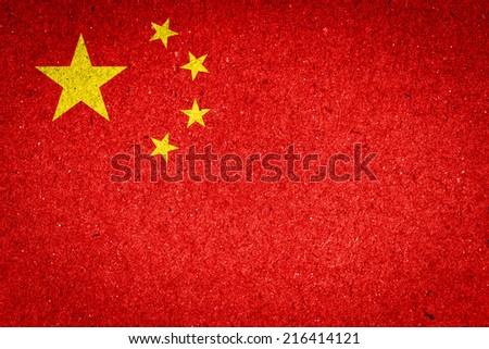China flag on paper background - stock photo