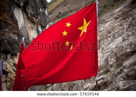 China flag on rocks background - stock photo