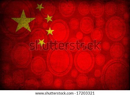 China flag on vintage textile background - stock photo