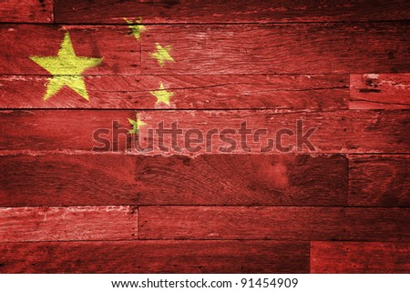 china flag painted on old wood background