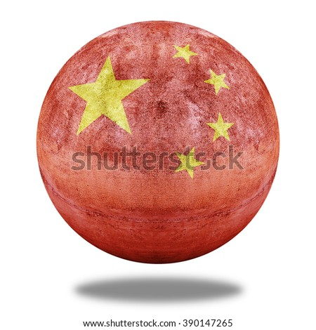China flag pattern on stone circle shape texture - stock photo