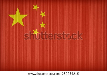 China flag pattern on the fabric curtain,vintage style - stock photo