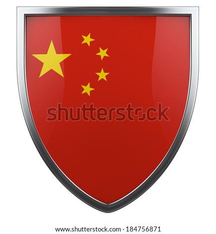 China flag shield isolated icon. - stock photo