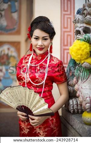 China Girl Chinese Woman Red Dress Stockfoto (Lizenzfrei) 243928714 ...