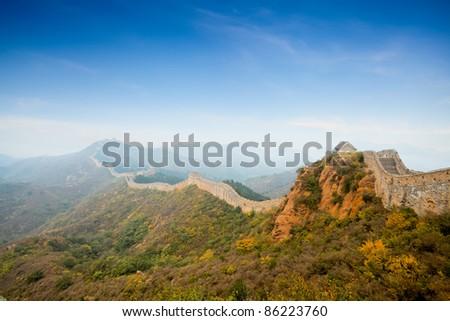 China great wall at autumn - stock photo