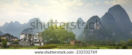 China Guilin Mountains Field - stock photo