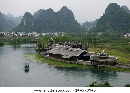 China Guilin river and mount scenery - stock photo