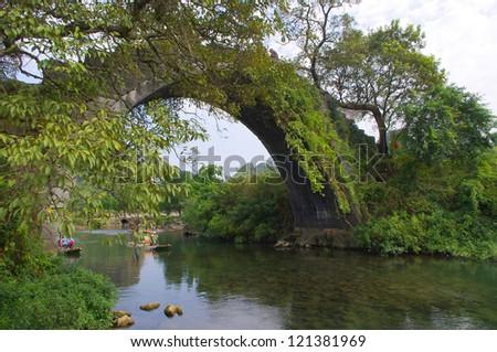 China Guilin Yangshuo Bridge - stock photo