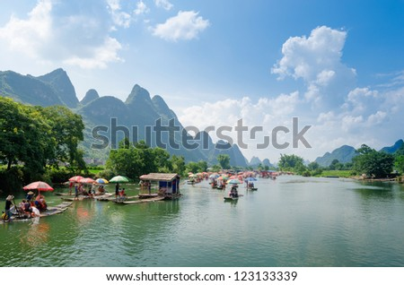 China Guilin Yangshuo rafting - stock photo