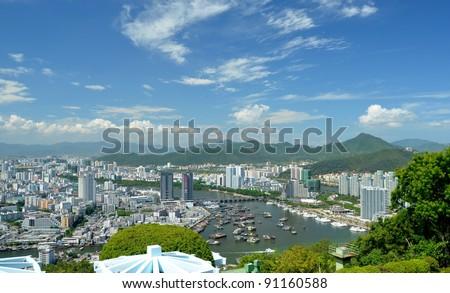 China Hainan island, city of Sanya aerial view - stock photo