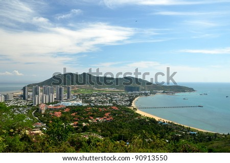China Hainan island, city of Sanya, aerial view on man-made island in the form - stock photo