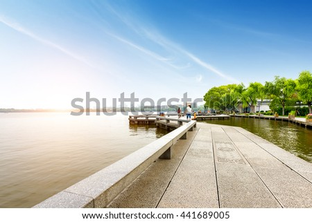 China Hangzhou West Lake water promenade - stock photo