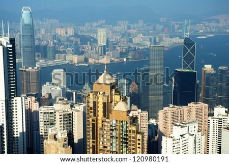China, Hong Kong cityscape from the Peak - stock photo
