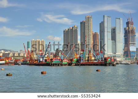 China, Hong Kong harbor - stock photo