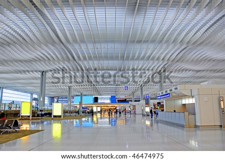 China, Hong Kong international airport main hall - stock photo