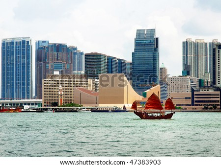 China, Hong Kong Kowloon waterfront buildings - stock photo