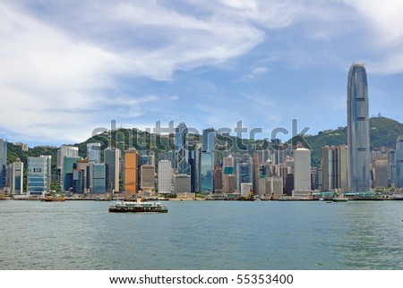 China, Hong Kong waterfront buildings - stock photo