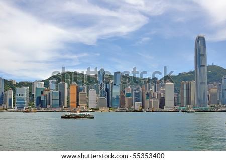 China, Hong Kong waterfront buildings - stock photo
