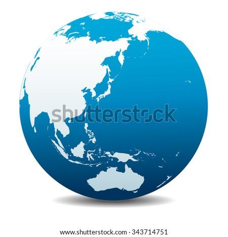 China, Japan, Malaysia, Thailand, Indonesia, Australia, Global World - Raster Version - stock photo