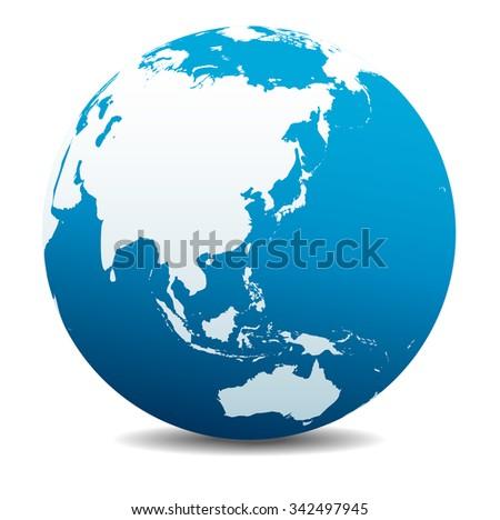 China, Japan, Malaysia, Thailand, Indonesia, Global World - Raster Version - stock photo