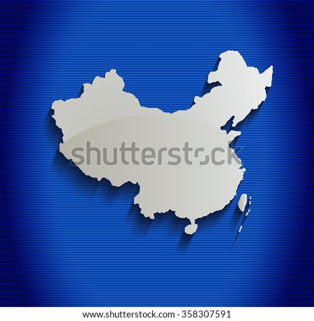 China map blue line 3D raster - stock photo